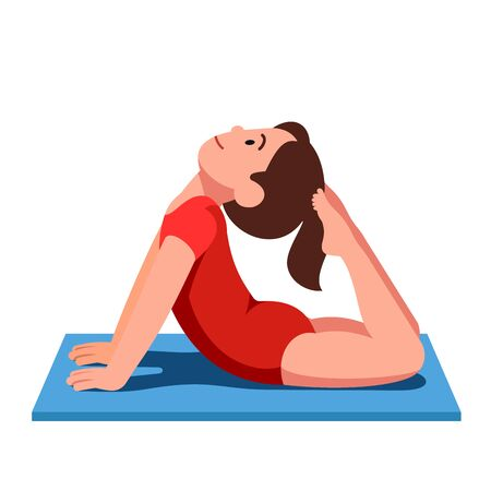 Smiling girl practicing yoga and doing exercise Illustration