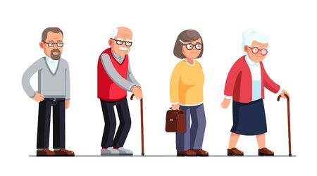 Ältere Frauen und Männer, die mit Stöcken stehen und gehen. Ältere Menschen Zeichentrickfiguren eingestellt. Hohes Alter. Flache Artvektorillustration lokalisiert auf weißem Hintergrund Vektorgrafik