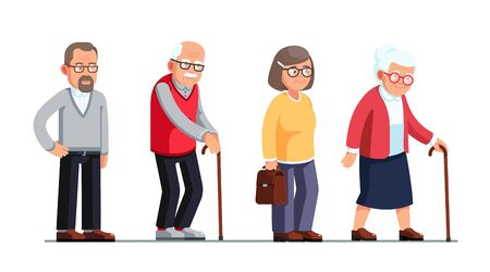 Senior women and men standing and walking with sticks. Elderly people cartoon characters set. Old age. Flat style vector illustration isolated on white background Ilustracje wektorowe