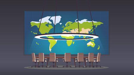 Salle de réunion avec carte du monde sur grand écran de projection