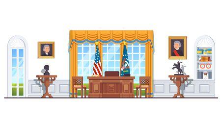 Bureau ovale de la maison blanche des États-Unis avec des drapeaux des États-Unis Vecteurs
