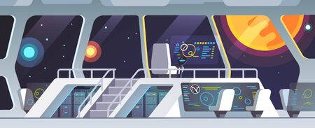 Interstellar spaceship main bridge big window view Illustration
