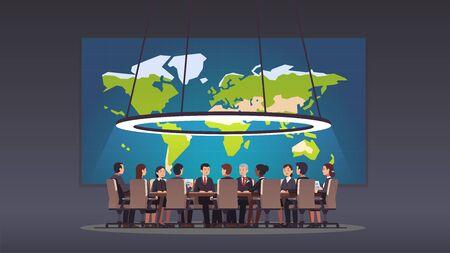La autoridad del grupo de políticos sentados en la mesa redonda