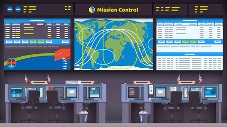 salle du centre de contrôle de mission de vol spatial