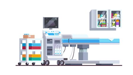 Medical checkup equipment with bed and shelves Stock Illustratie