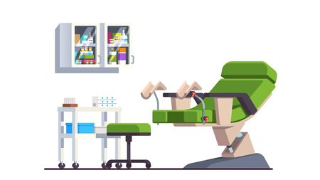 Gynecologist doctor office. Patient room and chair Stock Illustratie