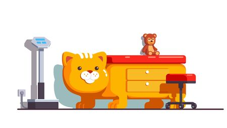 Children friendly pediatrician office with cat bed Stock Illustratie