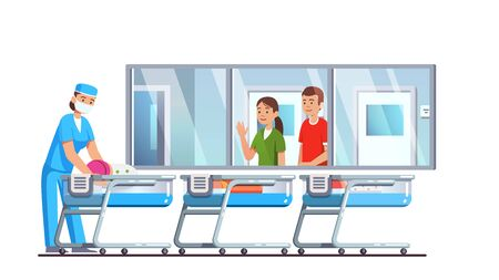 Newborn care hospital ward interior with cribs