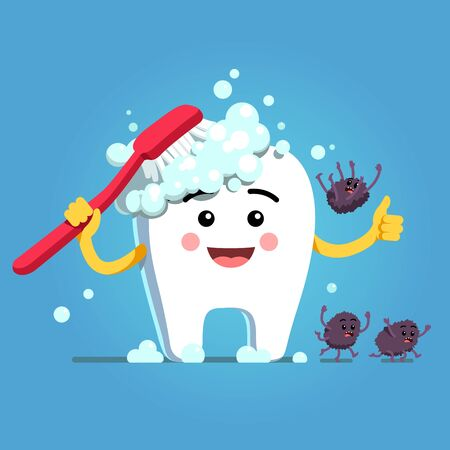 Happy cartoon tooth character brushing himself with toothbrush and toothpaste foam. Germs falling down, fleeing, running away. Funny motivational clipart. Teeth hygiene. Flat vector illustration Vektoros illusztráció
