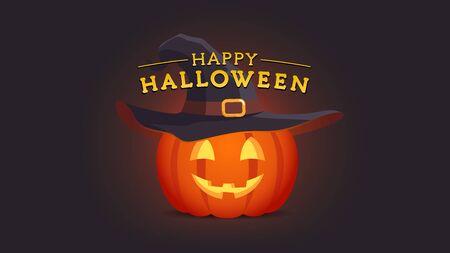 Happy Halloween geschnitzte Gesicht Kürbislaterne mit Hexenhut. Textkomposition Urlaub Grußkartenvorlage. Flache Art lokalisierte Vektorillustration auf dunklem Hintergrund