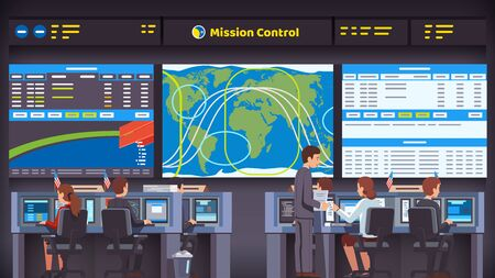 space flight mission control center room interior. Engineers people working at their desks and computers overseeing rocket launch, flight and landing. Flat style vector illustration