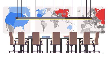 Sala de juntas con grandes mapas políticos de fondo y siete asientos en mesa redonda. Sala de conferencias de gestión ejecutiva corporativa o sala de reuniones. Ilustración de vector de estilo plano aislado en blanco