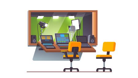 Green screen television studio with stage lighting equipment behind glass window and mixing console. TV show production, broadcasting. Video, sound engineer modern workplace. Flat vector ilustration Illustration
