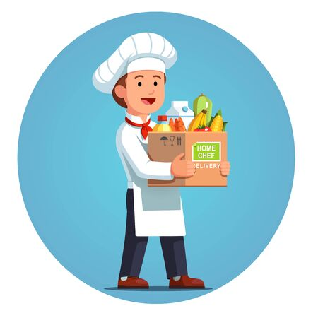 Happy cooking chef holding cardboard box with home chef delivery meal ingredients kit. Fresh groceries, fruits, vegetables, milk. Meal kit delivery service. Flat vector isolated illustration