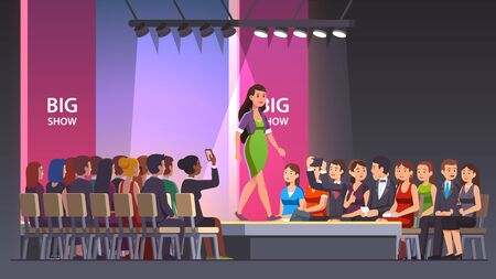 Catwalk model woman showing fashionable dress and walking on runway. Audience crowd watching big fashion show. Fashion runway exhibition model podium or stage. Flat vector illustration isolated