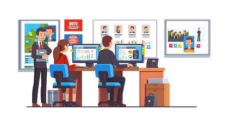 El equipo de analistas de la sede de la campaña de la carrera electoral trabaja en conjunto analizando los datos de las encuestas de los candidatos. Trabajadores de oficina de la sede política y director de campaña. Ilustración de vector aislado estilo plano