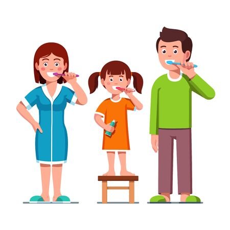 Smiling family father, mother parents with kid girl brushing teeth together holding toothbrushes encouraging teeth hygiene and care. Brushing teeth motivational flat vector character illustration