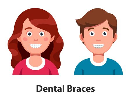 Smiling man and woman wearing teeth dental braces or orthodontic cases. Braces straightening teeth. Orthodontics advertising poster. Flat vector illustration isolated on white background