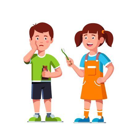 Niño niña alegre dar cepillo de dientes a chico dulce molesto que tiene dolor de muelas sosteniendo la mejilla comiendo barra de caramelo de chocolate de alimentos poco saludables. Imágenes prediseñadas de higiene de los dientes de los niños. Ilustración vectorial plana