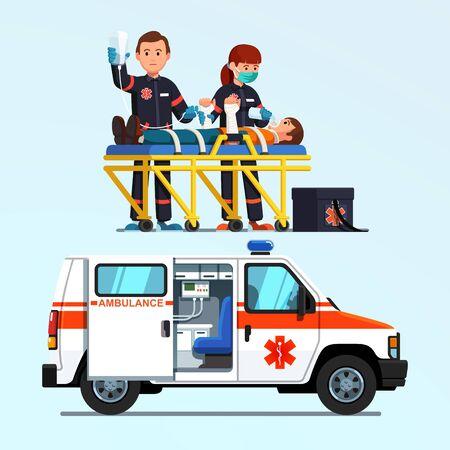 Paramedics emergency rescue team giving first aid Standard-Bild - 131375457