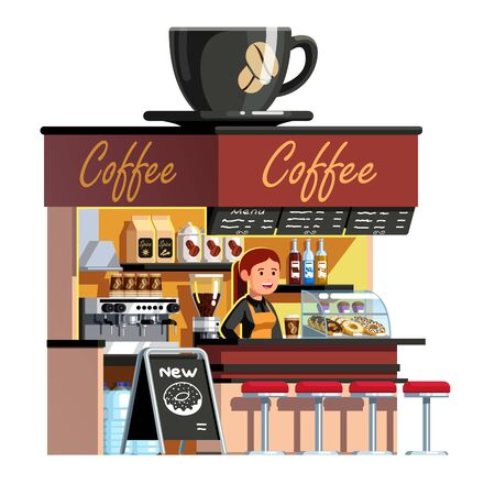 Sales clerk woman at coffee shop service counter