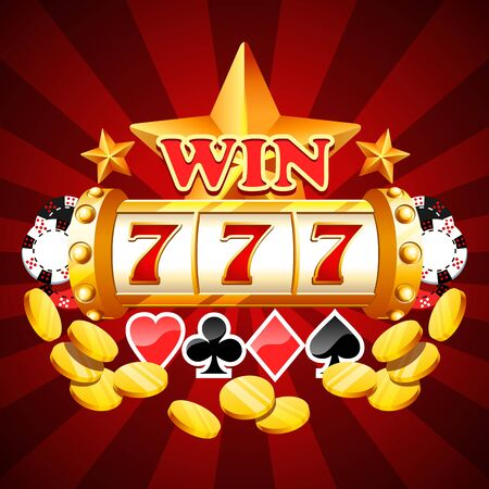 Lucky sevens win numbers slot machine drum bandit Illustration