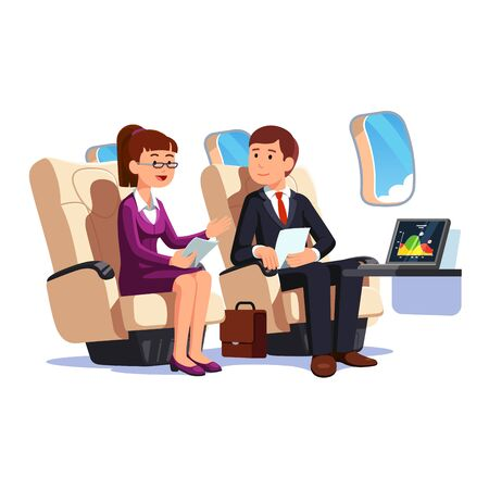 Business people man and woman traveling by plane Иллюстрация