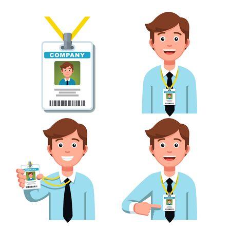 Heureux homme d'affaires représentant de l'entreprise souriant portant un badge de lanière. Travailleur pointant sur la carte d'identité professionnelle ou la tenant. Ensemble de cliparts pour badge d'identification d'employé. Illustration vectorielle plane isolée sur blanc