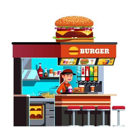 Modern small burger shop on the go kiosk Stock Illustratie