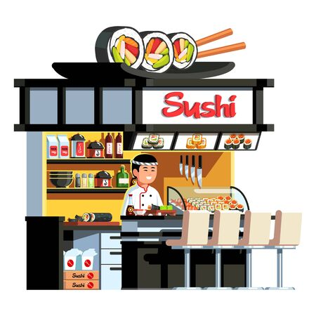 Japanese express sushi restaurant, Asian chef cook