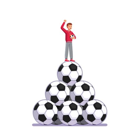 Soccer coach man standing on pile of big footballs. Coach person holding soccer ball, raising clenched hand and training football team. Flat style vector illustration isolated on white background