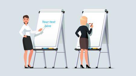 Business woman giving lecture on modern flipchart Иллюстрация