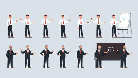 Businessman point at flipchart with pointer stick
