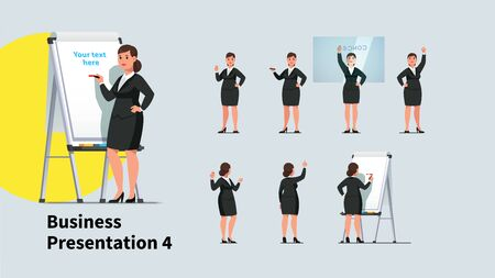 Business teacher woman giving lecture poses set
