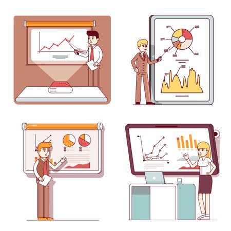 Business man, woman doing presentations on screen Иллюстрация