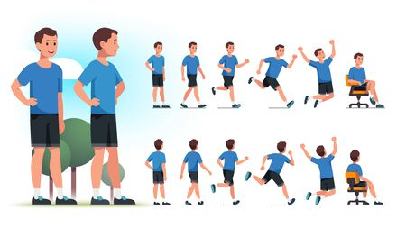 Young healthy sportsman person poses, actions set Vector Illustration