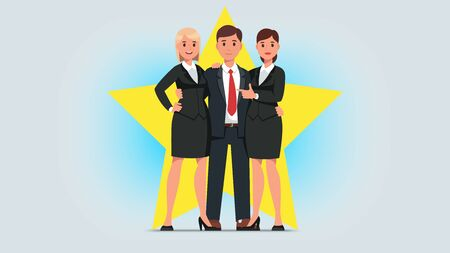 Business man celebrity star with woman partners Illustration