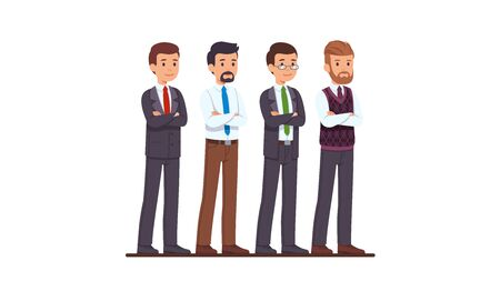 Four business man characters in suit set