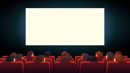 Movie theater. Cinema audience crowd watching film