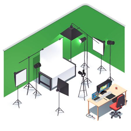 Photography studio room interior and equipment. Photo camera, lights, stands, white, green choma key background setup, shooting table, retouch pc desk. Flat isometric pseudo 3d vector illustration Foto de archivo - 131059124