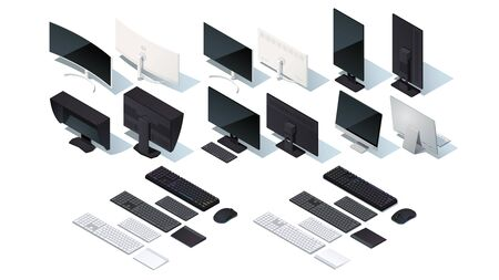 Modern monitor, keyboard, mouse, touch pad set