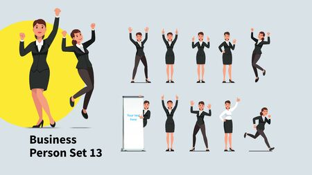 Set of business people poses and actions