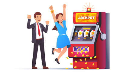 Slot machine jackpot win. Lucky man and woman couple 矢量图像