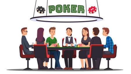 Poker cards tournament. Six prof poker players 矢量图像