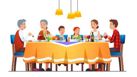 Family at full laid table celebrating thanksgiving 矢量图像