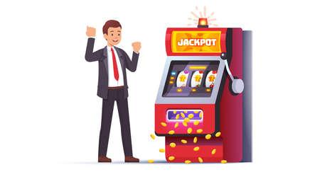 Slot machine jackpot win. Lucky man celebrating