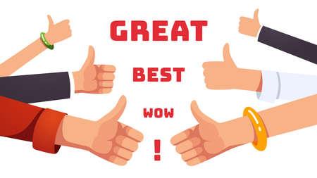 Many thumbs up gesturing hands. Positive feedback Ilustración de vector