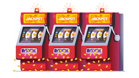 Slot machines jackpot win poster. One-armed bandit 向量圖像