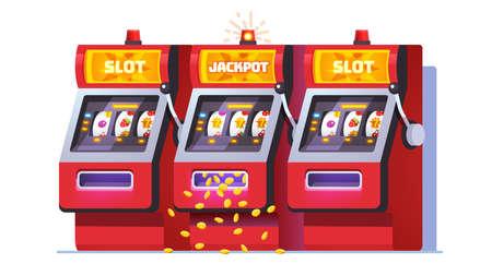 Slot machine jackpot win poster. One-armed bandit