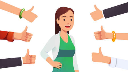 Woman surrounded by thumbs up gesturing hands